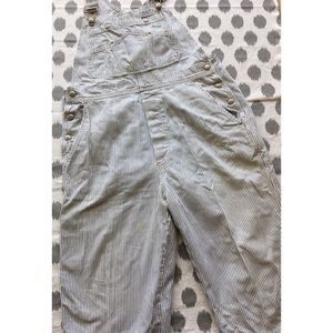 Gap Railroad Stripe Overalls L Cropped Slouchy
